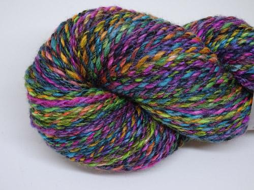 Black Rainbow Speckle Handspun Merino/Silk Yarn