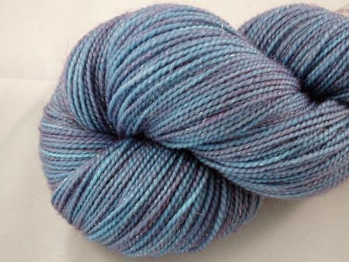 Blue/Puprle Shimmer SW Merino/Nylon/Stellina Sock Yarn