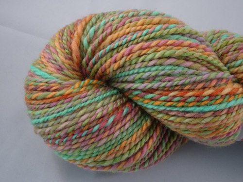 Mint Fruit Salad Handspun Yarn