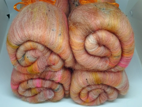 Orange/Pink Merino, Alpaca and Sparkle Batts