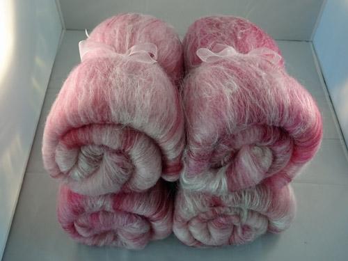Pink and White Merino, Silk and Bamboo Batts