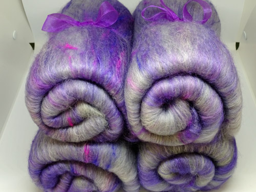 Purple and Grey Wool, Silk Noil, Bamboo and Mohair Batts