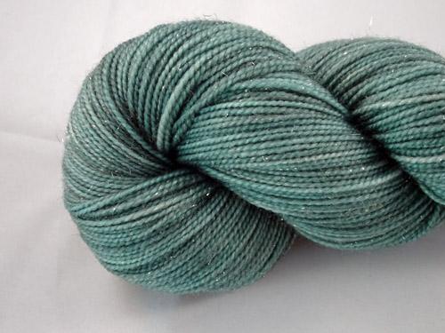 Sparkling Deep Sage SW Merino/Nylon/Stellina Sock Yarn