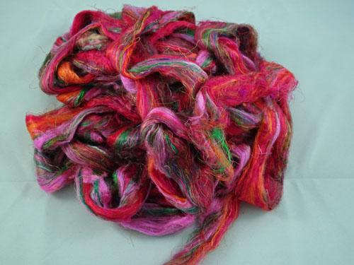 Sari Silk Roving - Pink, orange and green