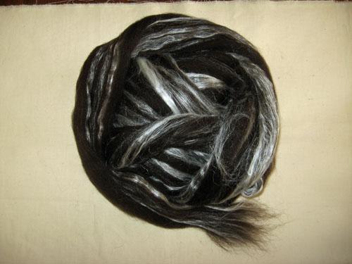 Black Shetland/Tussah Silk Tops-