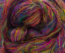 Sari Silk Roving - Dahlia-