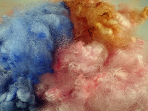 Pastel - Pink, blue and Salmon Dyed Fleece-
