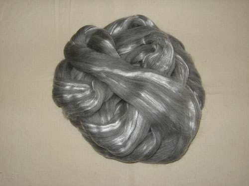 Grey Merino 23 mic/Tussah Silk 70/30 Tops-