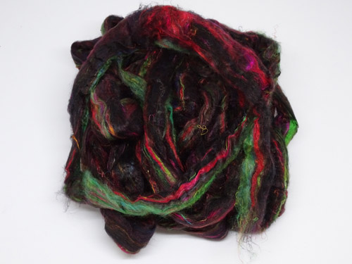 Sari Silk Roving - Black Magic-