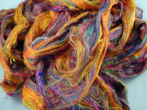 Sari Silk Roving - Blazing Orange-