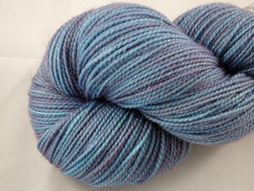 Blue/Puprle Shimmer SW Merino/Nylon/Stellina Sock Yarn-