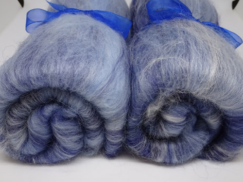 Blue and Grey Merino/Bleached Flax Batts-
