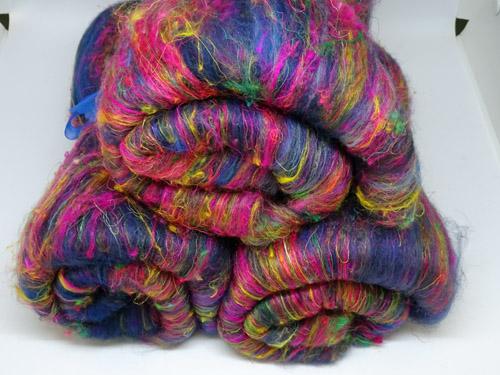 Blue & Pink Wool/Sari Silk Batts-