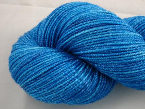 Bright Blue Superwash Merino/Bamboo/Silk Sock Yarn-