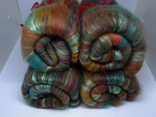 Green and Brown Wool and Silk Batts-
