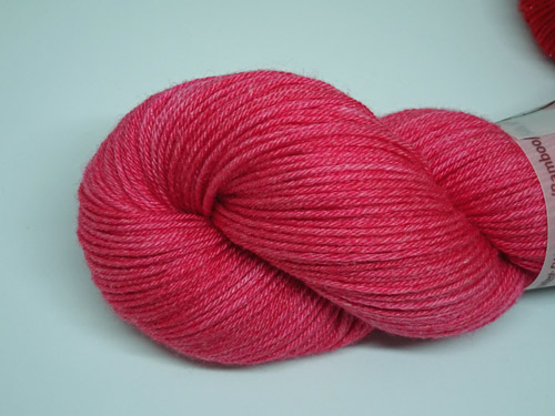 Candy Pink Superwash Merino/Bamboo/Silk Sock Yarn-