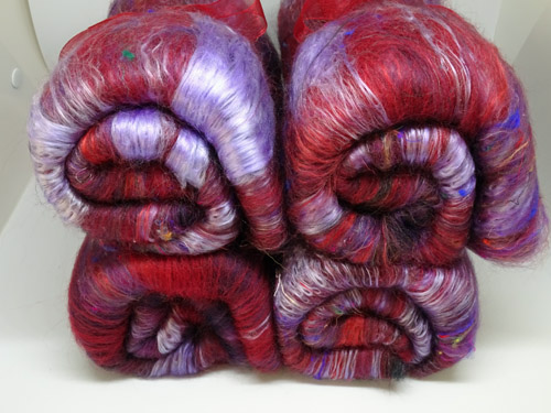 Deep Red/Purple Wool, Silk and Fun Fibres Batts-