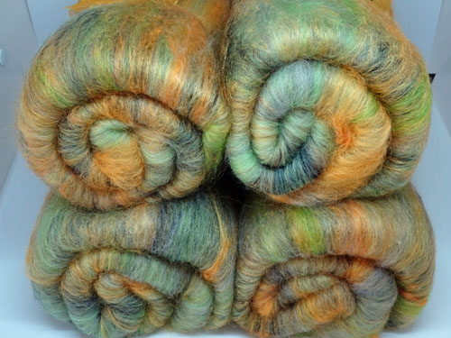 Gold and Green Wool/Mixed Fibres Batts-