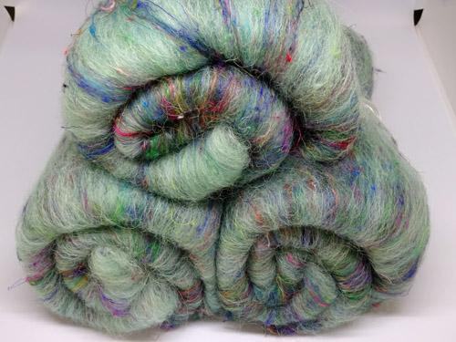 Green Alpaca and Sari Silk Batts-