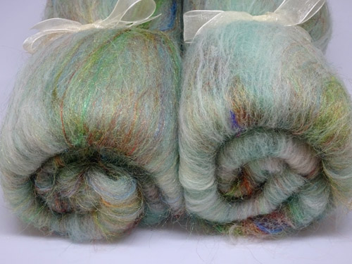 Green Alpaca, Wool and Sparkle Batts-