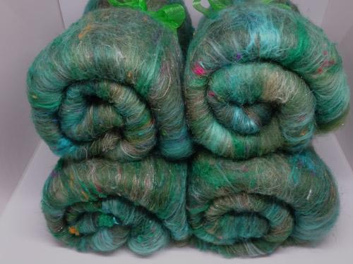 Green Merino/Silk/Sari Silk/Sparkle Batts-