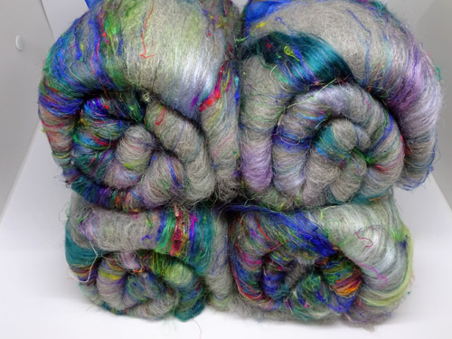 Green and Grey Merino/Silk/Sari Silk/Bamboo Batts-