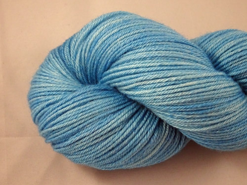 Light Tropical Blue Superwash Merino/Bamboo/Silk Sock Yarn-