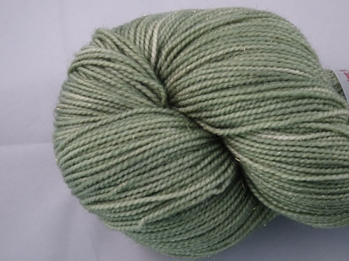Misty Green SW Merino/Nylon/Stellina Sock Yarn-
