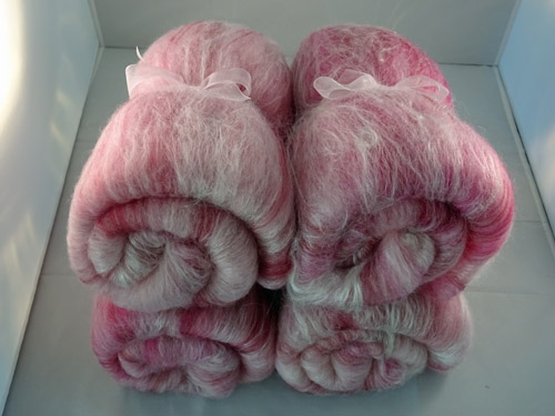 Pink and White Merino, Silk and Bamboo Batts-