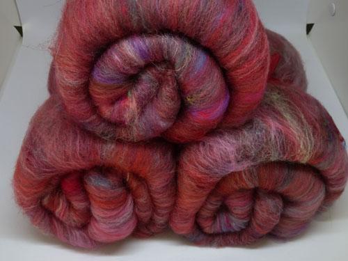 Red  Wool,  Alpaca, Sari Silk  and Angelina Batts-