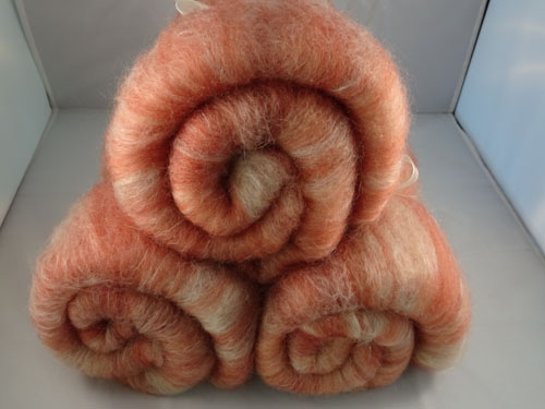 Salmon Superwash Wool, Silk and Bamboo Batts-