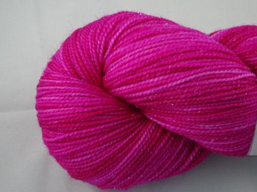 Soft Magenta SW Merino/Nylon/Stellina Sock Yarn-